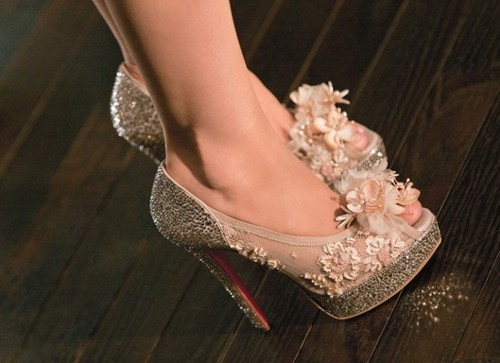 beautiful, christian louboutin, fashion, flowers, heels