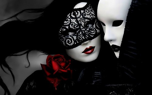 Gothic Love couple Wallpaper : beautiful, couple, eyes, mask, masks - image #141291 on Favim.com