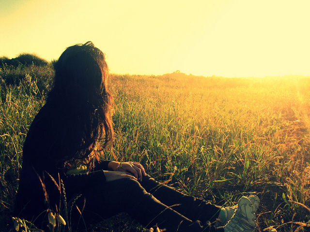 beautiful, field, girl, light, nature