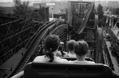 black and white, finland, photography, roller coaster