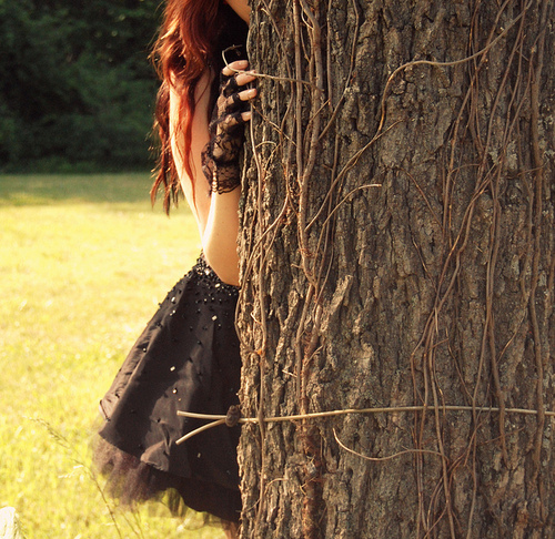 black, black dress, dress, frills, gems, girl, glitter, lace, nature, redhead, rhinestones, ruffles, silk, tree, tree trunk, vintage, want