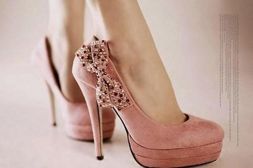 bow, cute, heels, pink, pretty
