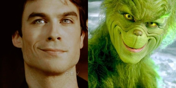 christmas, cute, damon salvatore, green, grinch
