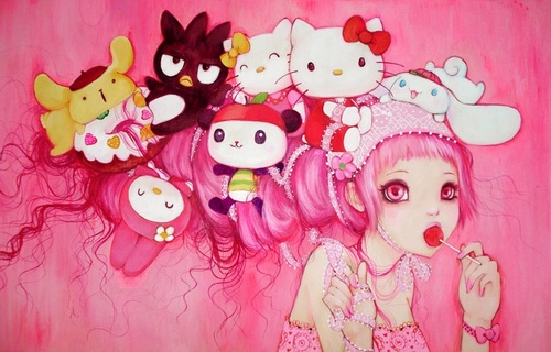 cinnamoroll, cute, deviant art, hello kitty, my melody, pink, sanrio