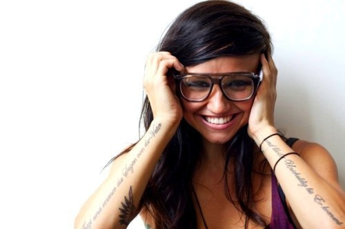 cute, glasses, hair, happy, lights, lights poxleitner, pretty, singer, smile, tan, tattoo, tattoos