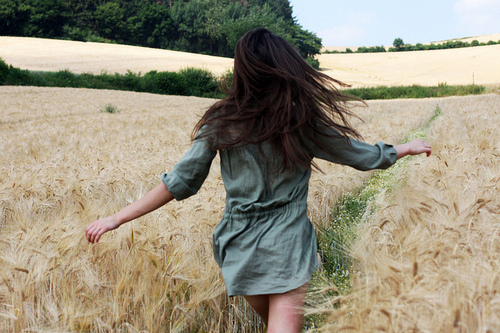 field, free, freedom, hair, run
