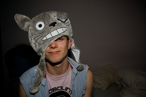 anime, bed, boy, cute, hat, piercing, piercings, pillow, septum, sexy, totoro, totoro hat