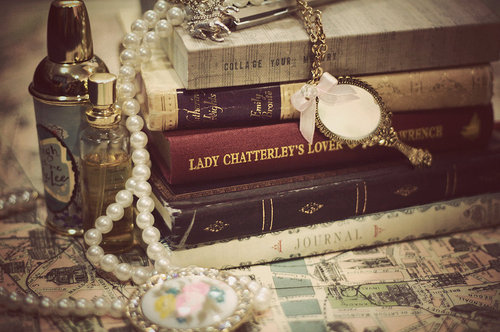 antique, books, bottles, jewels, map