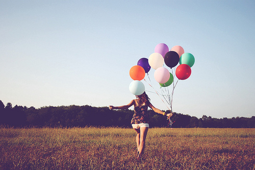 balloon, black, blue, flowers, girl, green, landscepe, lila, nature, purple, red, running, sky