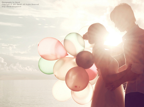 balloons, black, boy, couple, cute, fashion, girl, hair, happy, love, nature, photography, pink, pretty, sky, sweet, vintage