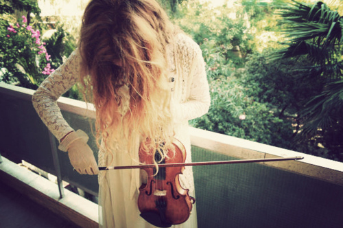 beautiful, blonde, girl, nature, tree, trees, violin, weak
