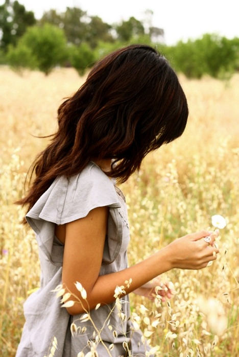 beautiful, dress, field, flower, girl, hair, nature, pretty, sad, woman