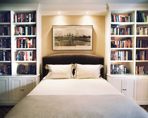 bed, bedroom, books, bookshelf, cabinets