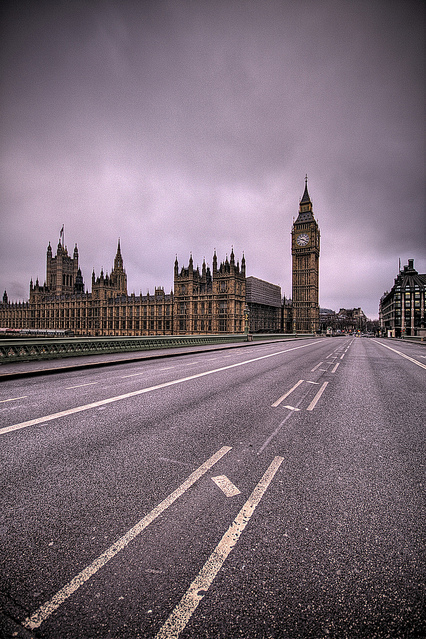 big ben, christmas day, clock tower, clouds, desolate, empty, hdr, houses of parliament, lines, london, lonely, road, time, vacant, westminster bridge