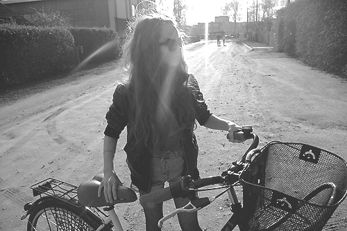 bike, black and white, cool sunglasses, fashion, girl