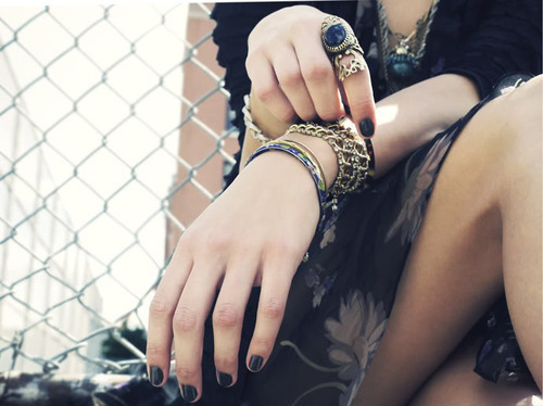 black nails, bracelet, fashion, legs, nails, rings