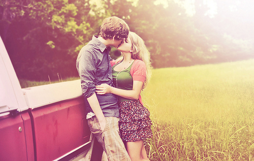 blonde car, couple, dress, grass, legs