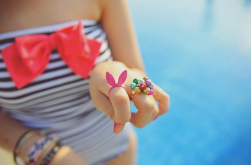 blue, bow, bunny, fashion, ribbon, rings, summer, swim suit, water