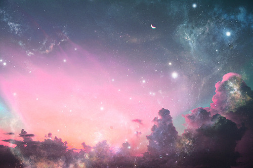 blue, clouds, cute, moon, nature, night, pink, purple, sky, stars, universe