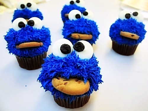 blue, cookie, cookie monster, cupcake, dessert