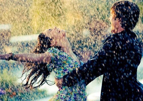boy, couple, cute, dance, girl, hold, laugh, love, rain, romance, smile
