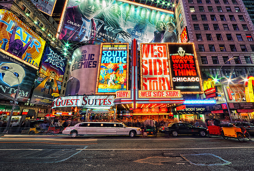 broadway, harry potter, lights, new york, new york city, nyc