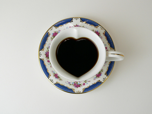 cafe, coffee, cup, cute, floral, heart, lifestyle, luxury, style, tea