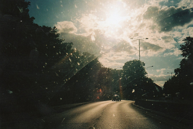 car, film, glare, light, road