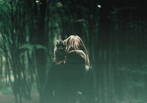 cat, girl, forest, creepy