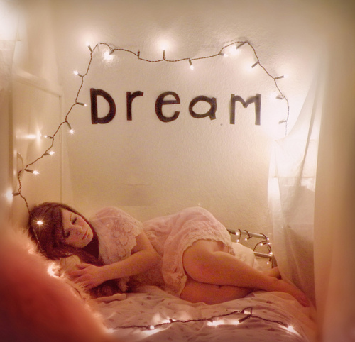 cute, dream, dress, fairy lights, girl, happy, lace, photography, pink, pretty, quote, sleep, text, white