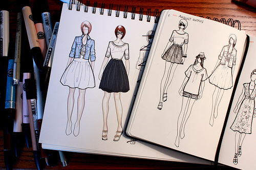 drawing, dress, fashion, pencil