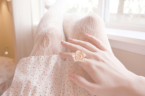 flower, girly, nail polish, nails, pretty, ring, vintage