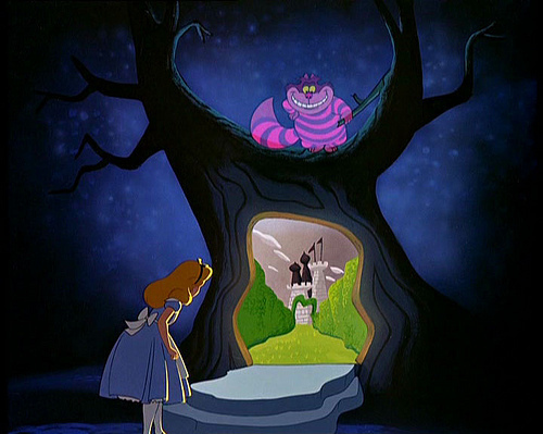 alice, alice in wonderland, cat, dark, fairy, fairytale, forest, night, scary, tree, wonderland