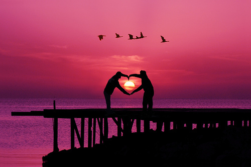 amazing!, beach, heart, kiss, love, ocean, pink, sun, water