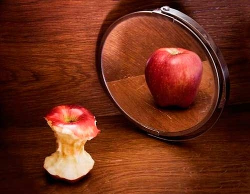 anorexia, anorexic, apple, mirror