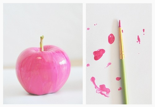 apple, clever, fruit, paint, photography, pink, smart