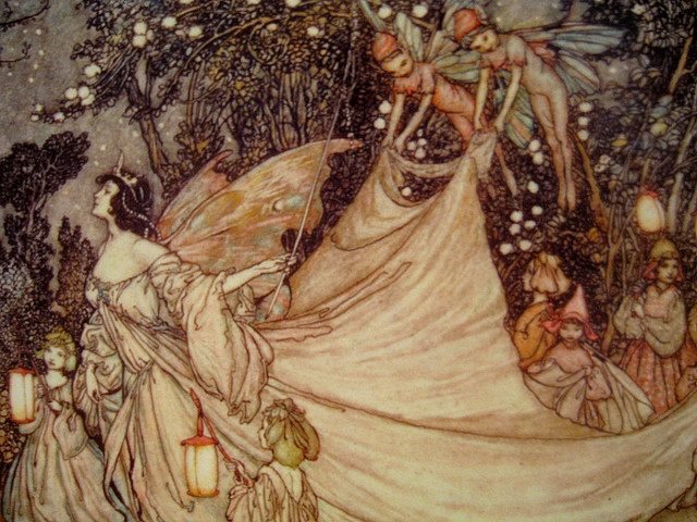 art, arthur rackham, fairies, fairytale, illustration