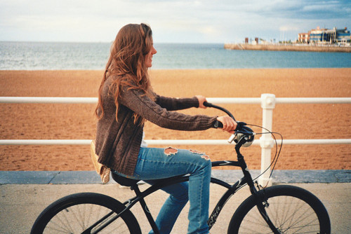 beach, bike, brunette, cute, fashion