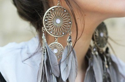 beautiful, dreamcatcher, earings, fashion, feather, feathers, girl, glamour, silver, vintage