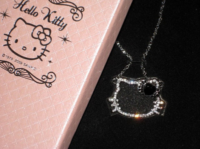 black, diamonds, glitter, hello kitty, pink