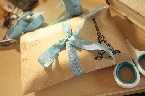 blue, bow, cute, france, package, pretty, ribbon, romance