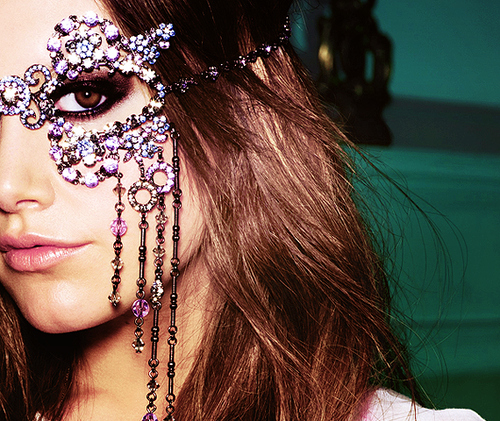 brown, crystals, fashion, girl, green, jewelry, lavender, mask, photography, pink, pretty, swarovski, violet, woman