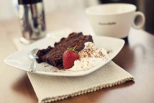 cake, chocolate cake, fashion, food, mug, photography, spoon, strawberry, sweets