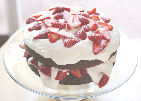 cake, chocolate, cream, dessert, food, photography, strawberries, strawberry, whipped cream