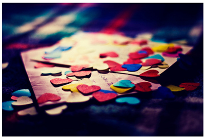 colorful, confetti, cute, heart, letter, love, red