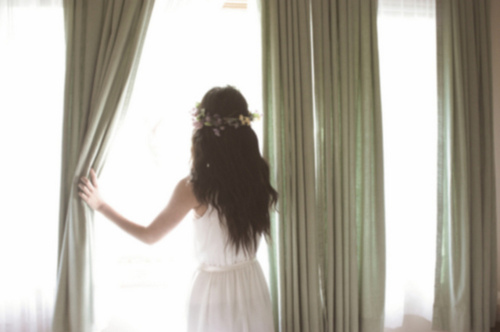 curtains, flowers, girl and light