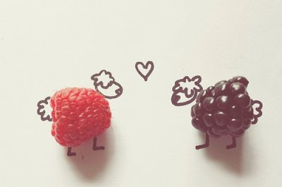 amazing, blackberry, coloful, cute, fruit, fruits, heart, kiss, love, opposites attract, photography, raspberry blackberry, sheep