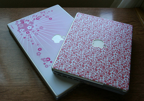 apple, floral, macs, notebook