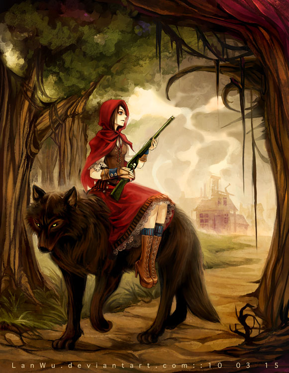 art, bad ass, badass, cool, girl, gun, hood, little, little red riding hood, red, red riding hood, riding, story, wolf