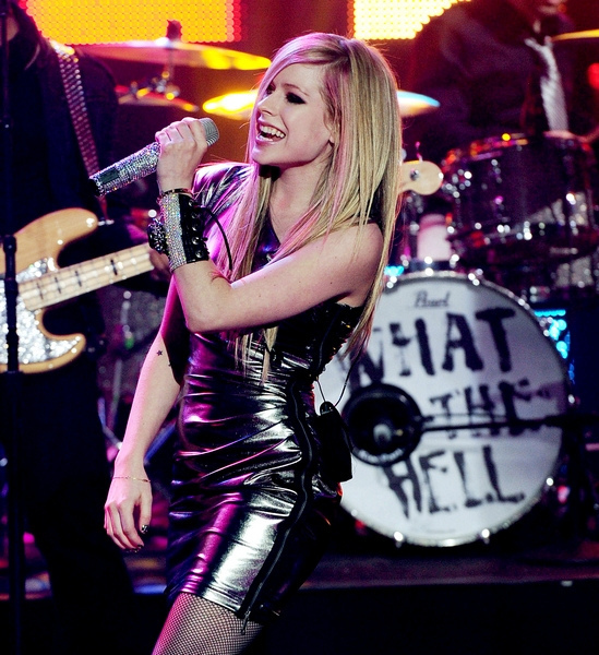 avril, avril lavigne, blonde, dress, famous, girl, goodbye lullaby, live, what the hell